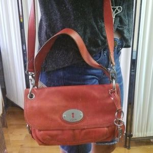 NEW~Genuin Leather Red Fossil Purse